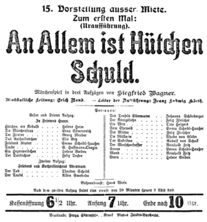 An allem ist Hütchen schuld! - List of the cast of the premiere