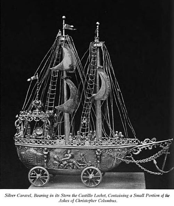 Silver Caravel containing a small portion of Christopher Columbus's remains Silver Caravel. Ashes of Christopher Columbus.png