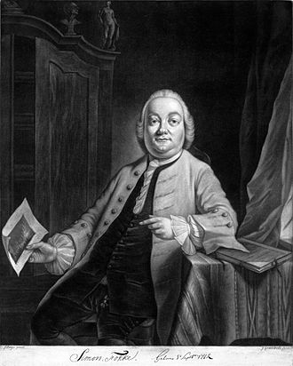 Simon Fokke - Simon Fokke holding one of his engravings, (by John Greenwood after a portrait by Jacobus Buys)