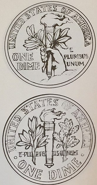 Roosevelt dime - Two of Sinnock's sketches for the reverse of the dime
