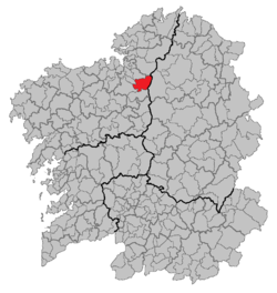 Situation of Aranga within Galicia