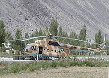 Pakistan Army aviation squadron's helicopter at the Skardu Airport.