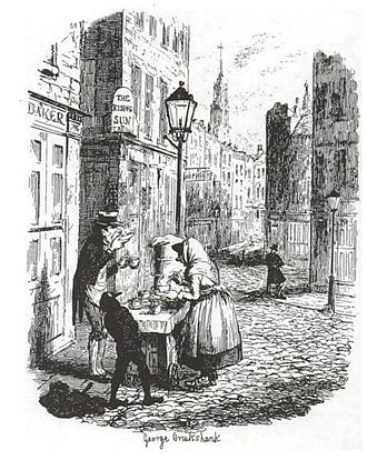 "Sketches by Boz - ""The Streets – morning"", Illustration by George Cruikshank"