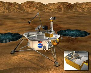 Mars Surveyor 2001 Lander - Artist's conception of the Mars 2001 Surveyor Lander Spacecraft, with an inset showing details of the MIP experiment. Image courtesy of NASA Glenn Research Center