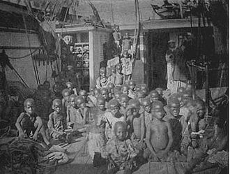 Scramble for Africa - Slaves captured from the Congo aboard an Arab slave ship intercepted by the Royal Navy (1869). One of the supposed justifications for the colonisation of Africa was the suppression of the slave trade.