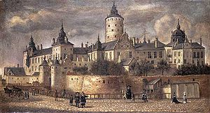 Tre Kronor (castle) - The castle in a painting from 1661 by Govert Dircksz Camphuysen.
