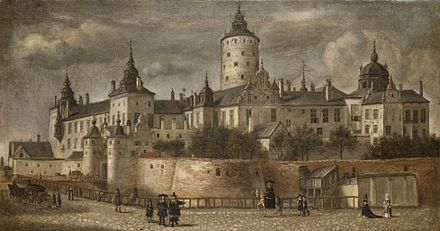 Tre Kronor in Stockholm by Govert Dircksz Camphuysen. Most of Sweden's national library and royal archives were destroyed when the castle burned in 1697. Slottet Tre Kronor 1661.jpg