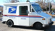 A mail truck. Restrictions are sometimes placed on private mail systems by mixed economy governments. For example, in the U.S., the USPS enjoys a government monopoly on nonurgent letter mail as described in the Private Express Statutes.