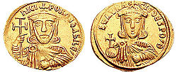 Obverse and reverse of a gold coin, showing the bust of a crowned bearded man, holding a large cross and an akakia, and a crowned beardless youth, holding a globus cruciger and an akakia