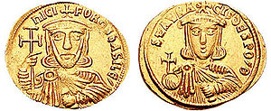 Bardanes Tourkos - Gold solidus of Nikephoros I and his son and co-emperor, Staurakios.