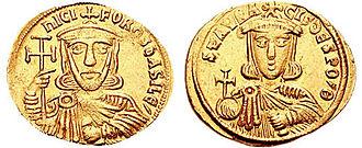 Bardanes Tourkos - Gold solidus of Nikephoros I and his son and co-emperor, Staurakios.