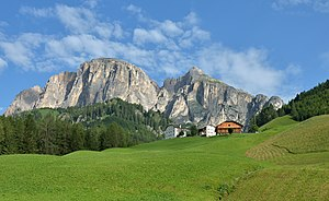"Corvara, South Tyrol - Alpine farmhouse ""Sorà"" on the left and ""Zecca da Ruatscht"""