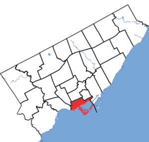 Spadina—Fort York - Spadina-Fort York in relation to the other Toronto ridings (2013 boundaries)