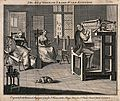 Spinners and stocking makers; interior view, a spinning whee Wellcome V0023708.jpg