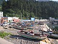 Squid fishing boats on the pebble beach - panoramio.jpg