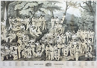 Turners - Group portrait of the St. Louis, Missouri Turnverein in 1860.