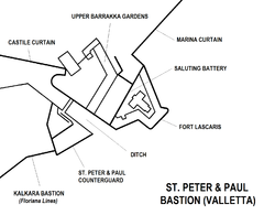St. Peter & Paul Bastion Valletta map.png