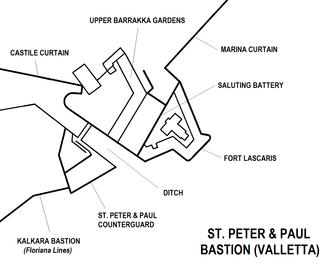Upper Barrakka Gardens - Image: St. Peter & Paul Bastion Valletta map
