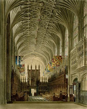 "William Henry Harris - View of the choir and organ in St. George's Chapel, Windsor Castle, where ""Doc"" Harris served as organist and choirmaster"