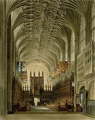 """William Henry Harris - View of the choir and organ in St. George's Chapel, Windsor Castle, where """"Doc"""" Harris served as organist and choirmaster"""