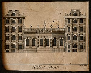 St Paul's School, London - St Paul's School, London; the facade. Engraving by B. Cole