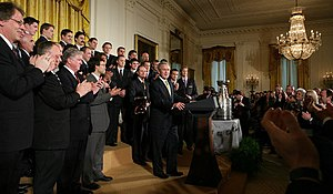 Traditions and anecdotes associated with the Stanley Cup - George W. Bush welcomes the 2007 champion Anaheim Ducks.