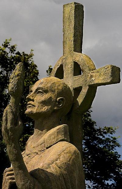 Statue of St Aidan, Lindisfarne Priory.jpg