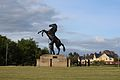 Statue outside The July Course in Newmarket, UK.jpg