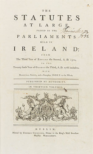 Law of the Republic of Ireland - The law now in force in Ireland dates back in excess of 800 years