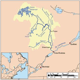 Saint-Maurice River - Image: Stmauricerivermap