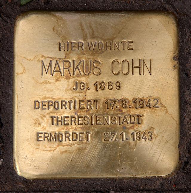 Photo of Markus Cohn brass plaque