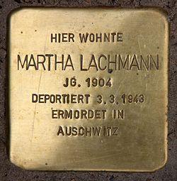 Photo of Martha Lachmann brass plaque