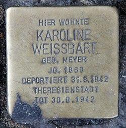 Photo of Karoline Weissbart brass plaque