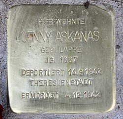 Photo of Jenny Askanas brass plaque