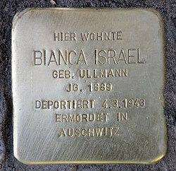 Photo of Bianca Israel brass plaque