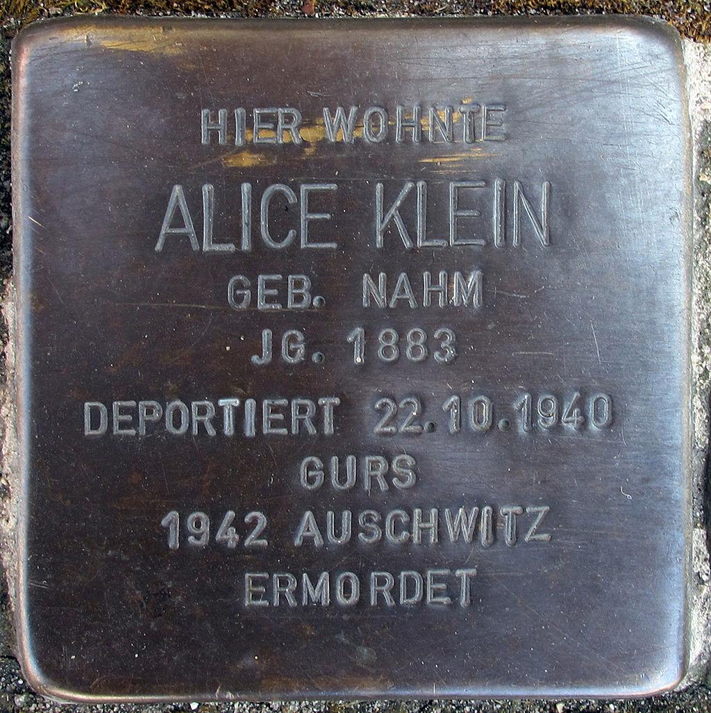Stolperstein für Alice Klein