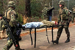 Stretcher - A simple stretcher used by U.S. Marines in a training environment in December 2003.