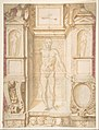 Study of a Figure in a Niche (Saint Ambrose; recto); Architectural Studies- Four Alternative Designs for Fictive Niches and an Unrelated Design with Garlands (verso), ca. 1560-67 MET DP807705.jpg