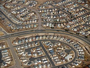 Suburb - Tract housing in Colorado Springs. Cul-de-sacs are hallmarks of suburban planning.