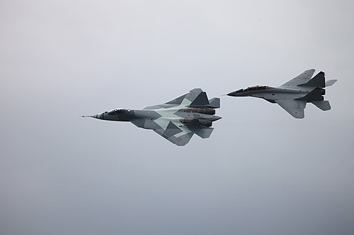 Sukhoi T-50 and a MiG-29M2