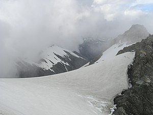 Mount Adams (New Zealand) - Summit of Mt Adams (at right) from point 2194m. Siege Glacier at centre and left. Late summer conditions.