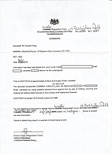 a summons issued by the leicester magistrates court against russell finlay for a charge of common assault by beating signed by district judge