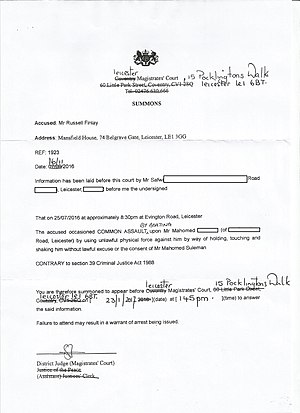 Summons - A summons issued by the Leicester Magistrates' Court against Russell Finlay for a charge of common assault by beating. Signed by District Judge (Magistrates' Courts) Sally Fudge. This is a summons for a private prosecution.