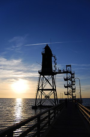 "Sunset in Dorum at the north sea with pharos ""Obereversand""."