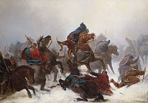 History of Shetland - King Sverre's march over the Vossefjell by Peter Nicolai Arbo