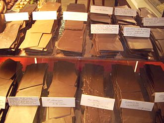 Swiss chocolate - A chocolate display in Neuchâtel