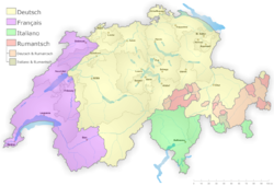 Idiomas en Suiza: alemán (amarillo), francés (purpura), italiano (verde), romanche (rojo)