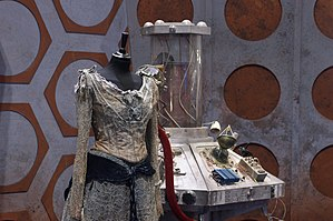 The Doctor's Wife - Idris' costume, and the makeshift TARDIS set, on display at the Doctor Who Experience.