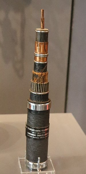TAT-1 - A section of TAT 1 cable with the layers successively stripped back