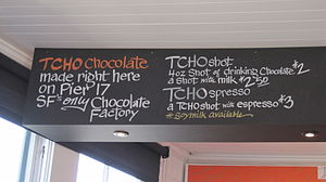 Part of the menu at the TCHO tasting room in S...